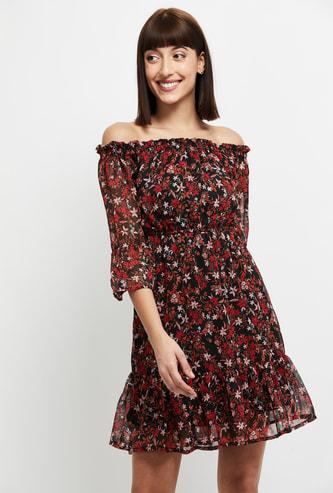 MAX Printed Off-Shoulder A-Line Dress