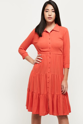 MAX Solid Three-Quarter Sleeves Tiered A-line Dress