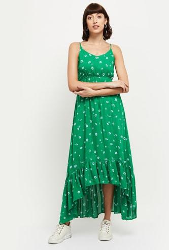 MAX Floral Print Sleeveless High-Low Maxi Dress
