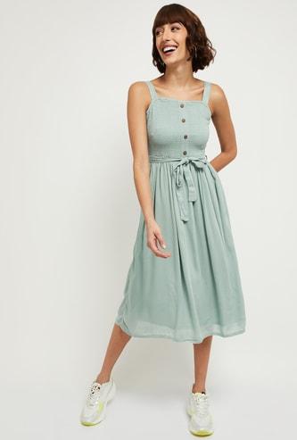 MAX Solid A-Line Midi Dress