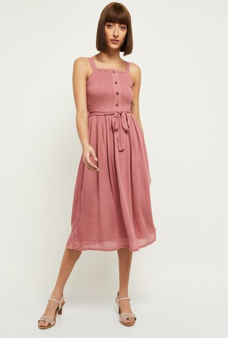 MAX Solid Smoked Detail A-Line Dress