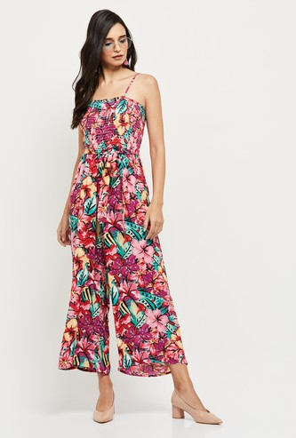 MAX Floral Printed Cropped Jumpsuit