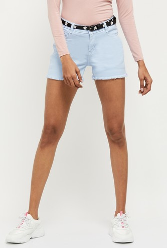 MAX Solid Denim Shorts with Belt