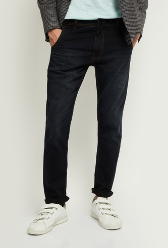 MAX Solid Skinny Fit Washed Jeans
