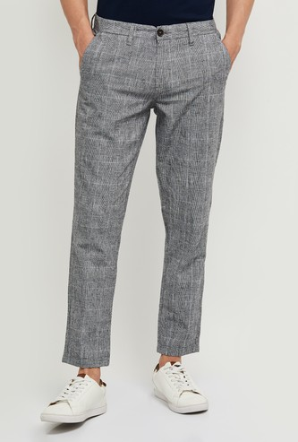 MAX Checked Skinny Fit Casual Trousers