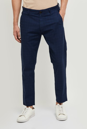 MAX Checked Carrot Fit Casual Trousers