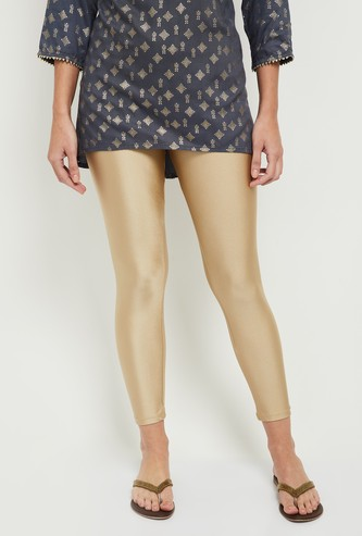 MAX Solid Elasticated Ankle-Length Leggings