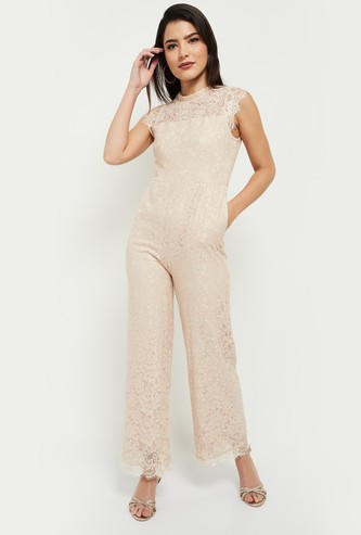 MAX Lace Detailed Sleeveless Jumpsuit with Pocket