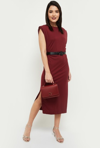 MAX Solid Sheath Dress with Slit and Crew Neck