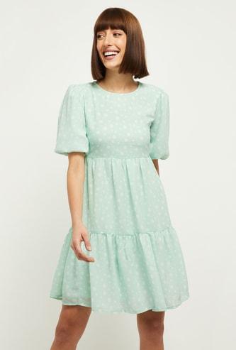 MAX Polka Dot Print Puffed Sleeves A-Line Dress