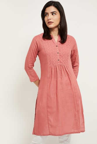 MAX Embroidered Short Kurta with 3/4 Sleeves