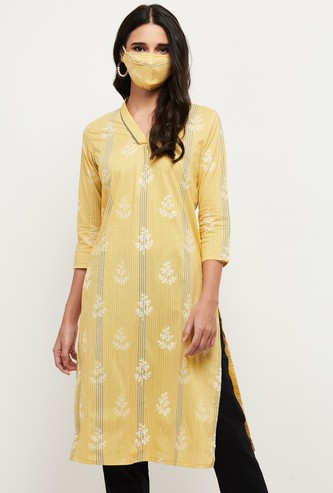 MAX Printed Straight Kurta with Face Mask