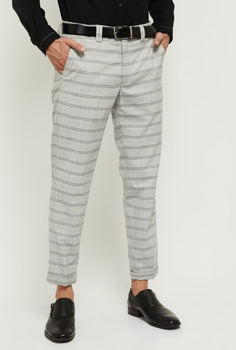 MAX Striped Carrot Fit Semi-Formal Trousers