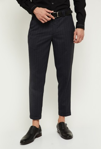 MAX Striped Carrot Fit Casual Trousers