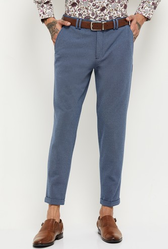 MAX Textured Knit Carrot Fit Formal Trousers