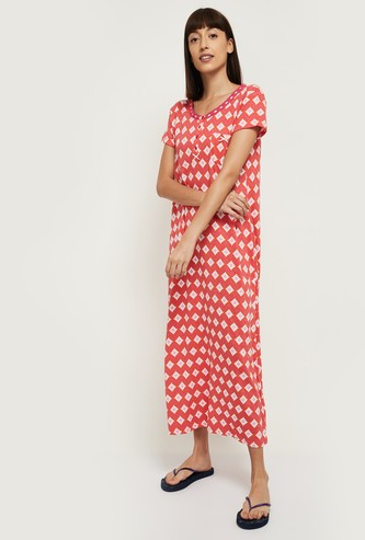 MAX Printed Short Sleeves Nightdress