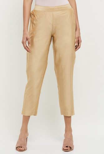 MAX Solid Elasticated Cropped Ethnic Pants