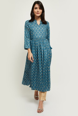 MAX Embroidered A-line Kurta with Tie-Ups