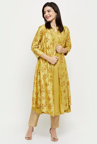 MAX Printed Kurta with Open-Front Shrug