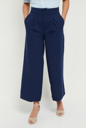 MAX Solid Wide-Legged Palazzo Pants