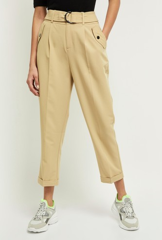 MAX Solid Cropped Peg Pants with Fabric Belt