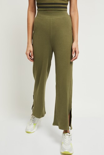 MAX Striped Knitted Parallel Pants with Slits