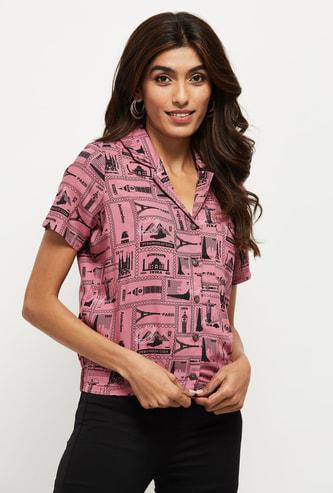 MAX Printed Lapel Collar Shirt