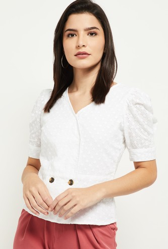 MAX Schiffli Embroidered Top with Puff Sleeves
