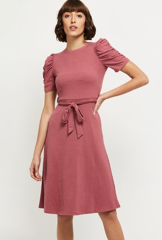 MAX Solid Ruched Sleeves A-Line Dress