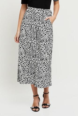 MAX Polka Dot Print Elasticated Flared Pants