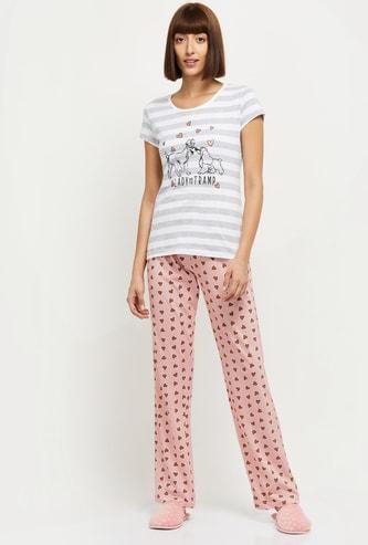 MAX Printed Lounge T-shirt with Elasticated Pyjamas
