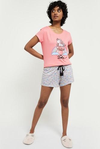 MAX Printed T-shirt with Printed Shorts