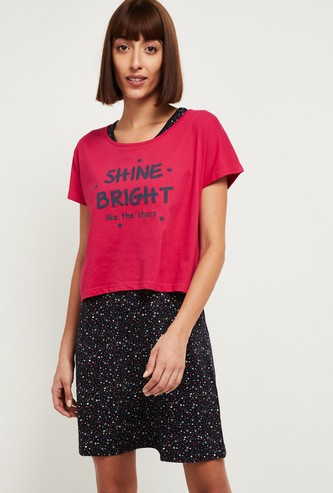 MAX Printed Lounge T-shirt with Chemise