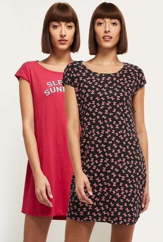 MAX Printed Round Neck Lounge Dress- Pack of 2