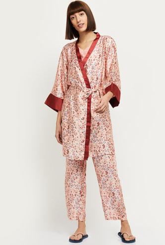 MAX Printed Lounge Wear with Spaghetti, Robe and Pyjamas- Set of 3