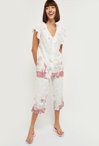 MAX Floral Print V-neck Shirt and Capri Set