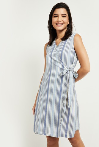 MAX Striped Sleeveless Wrap Dress