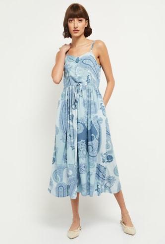 MAX V-neck Paisley Print Midi Dress