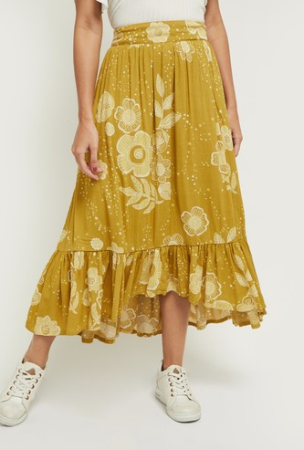 MAX Printed Asymmetric Tiered A-Line Skirt