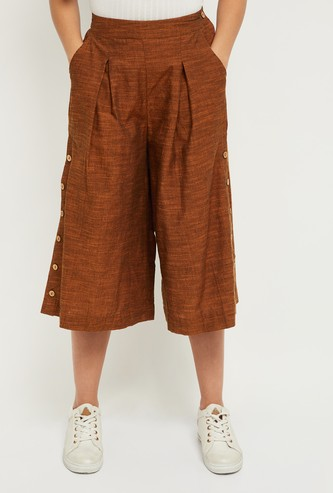 MAX Textured Culottes with Faux Buttons