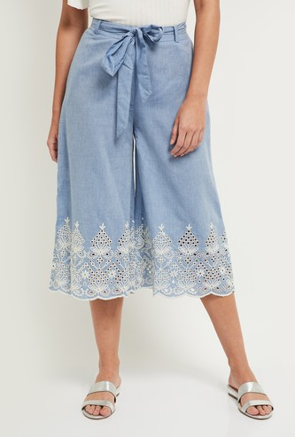 MAX Knee Length Schiffli Embroidered Denim Culottes with Tie-Ups
