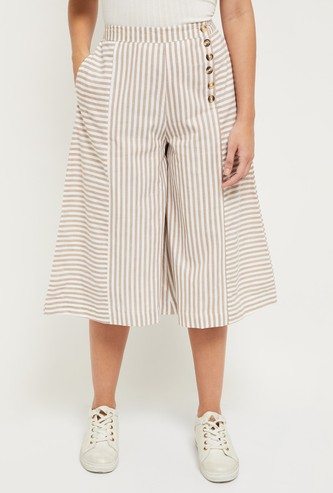 MAX Asymmetric Stripe Print Culottes with Buttons
