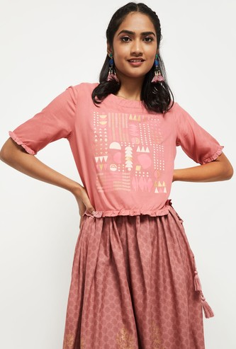 MAX Printed Short Sleeves Round Neck Top