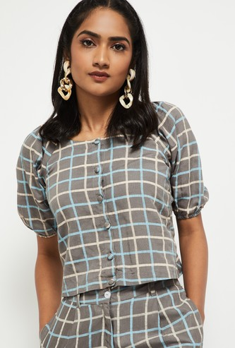 MAX Checks Print Crop Top with Puff Sleeves