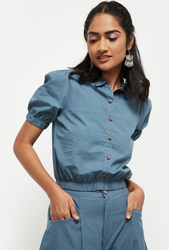 MAX Solid Collared Blouson Top