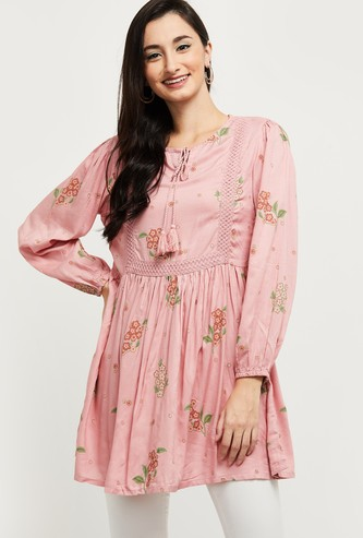 MAX Floral Print Puffed Sleeves Tunic