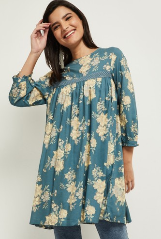 MAX Floral Printed Lace Detailed Tunic