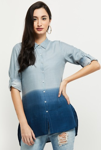 MAX Ombre Toned Collared Shirt with Roll-tab Sleeves