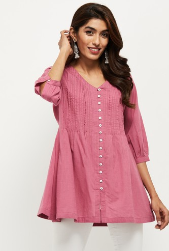 MAX Frill Detail Three-Quarter Sleeves Tunic
