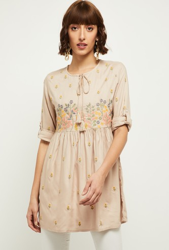 MAX Floral Embroidered Three-Quarter Sleeves Tunic
